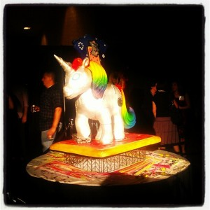 This unicorn is a cake, at a sparkly unicorn themed BlogHer rave called Sparklecorn. Now, this is funny.